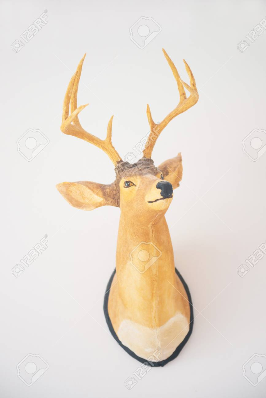 Wooden Deer Head On The Wall, Decor Stock Photo, Picture And Royalty ...