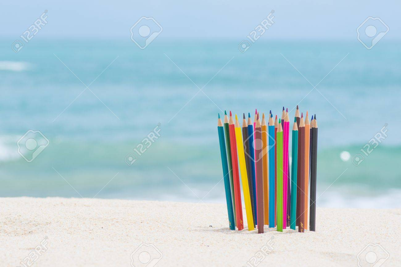 crayon wood color on the beach stationery stock photo picture and