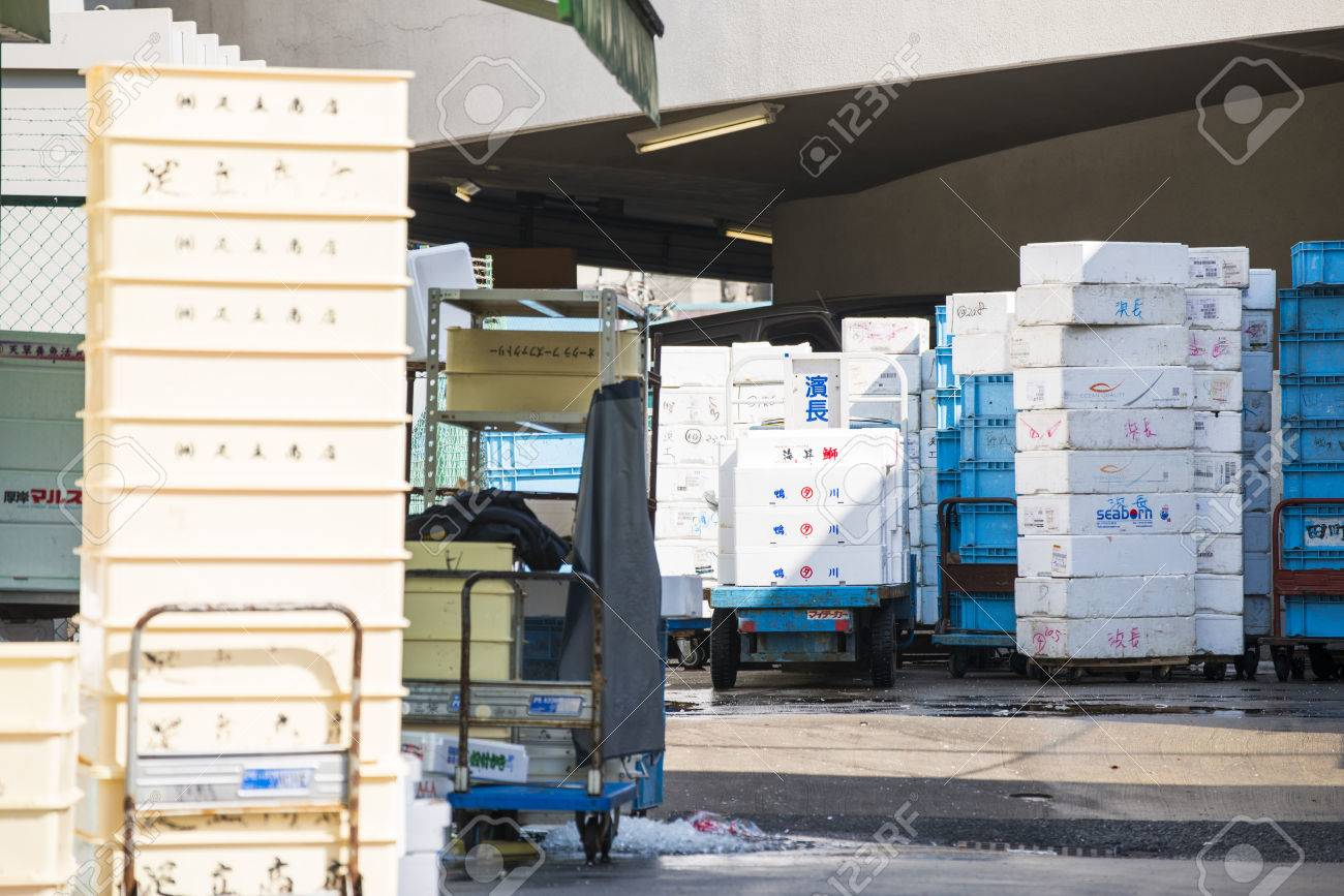 styrofoam storage box for frozen food in fish market