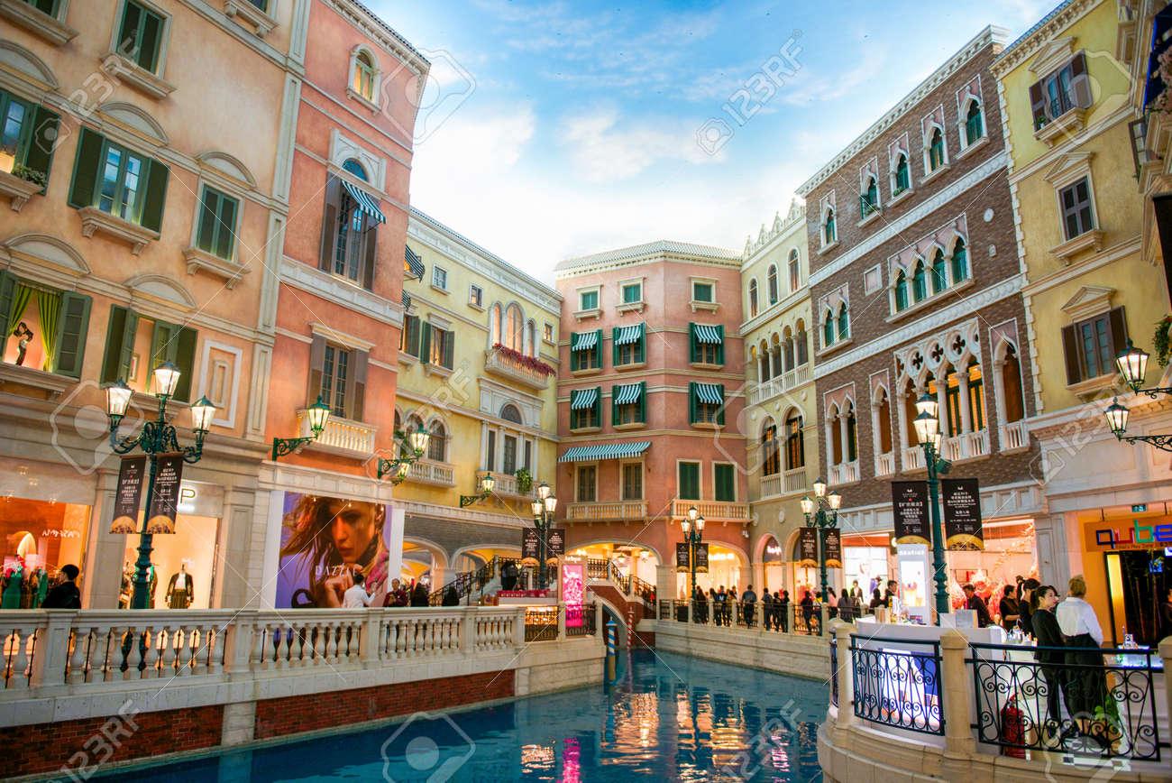 Macau - January 16, 2018 :Interior view of the Venetian Hotel, Venetian Hotel is luxury hotel and the largest casino in the world - 120751899