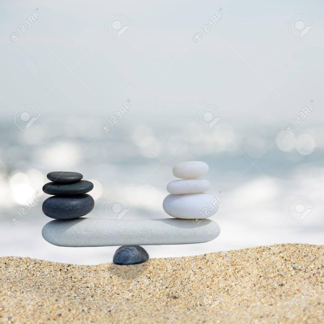 Zen Stones Balance Concept The Balance Between Black And White