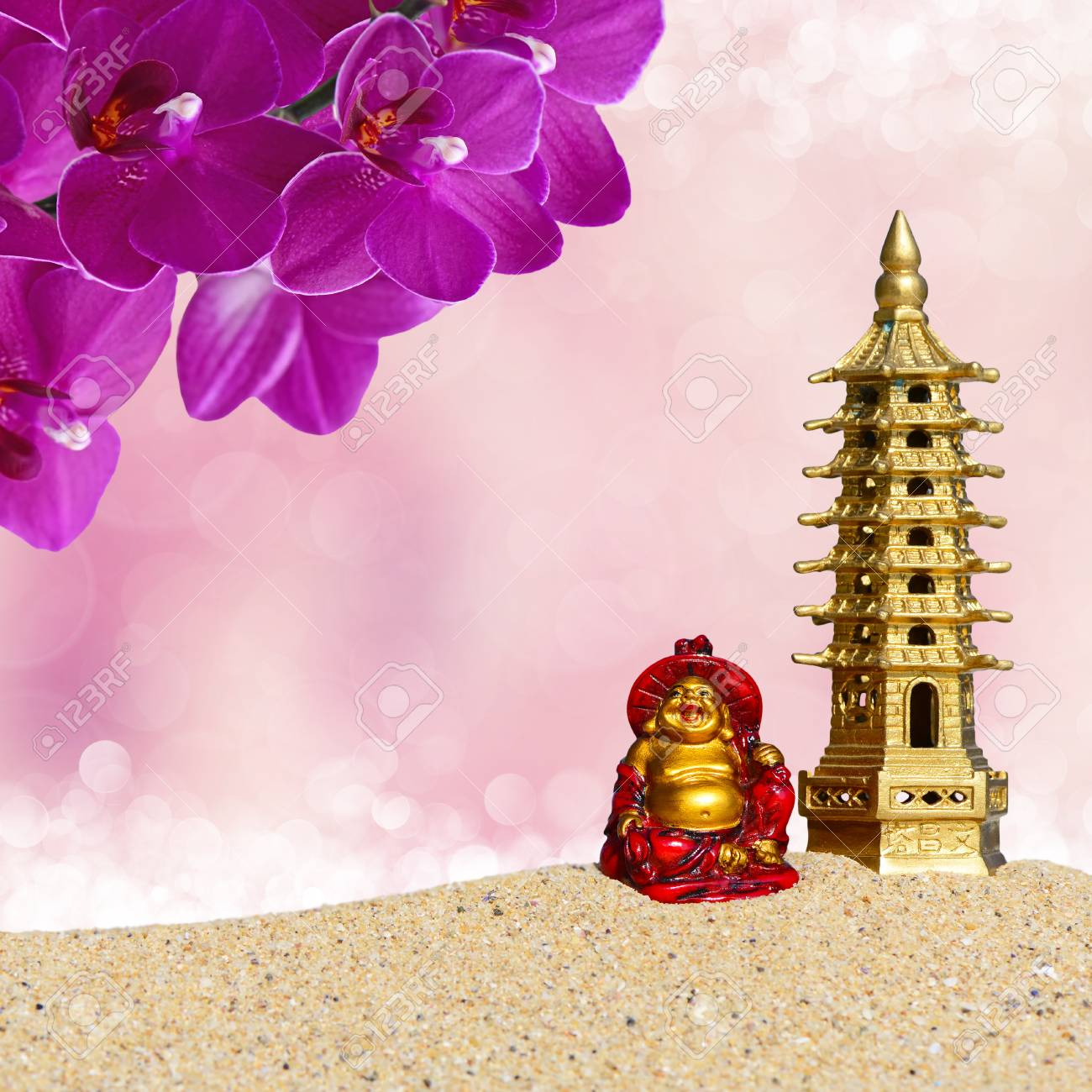 Laughing Buddhaorchid Flowers And Seven Storied Pagoda In The