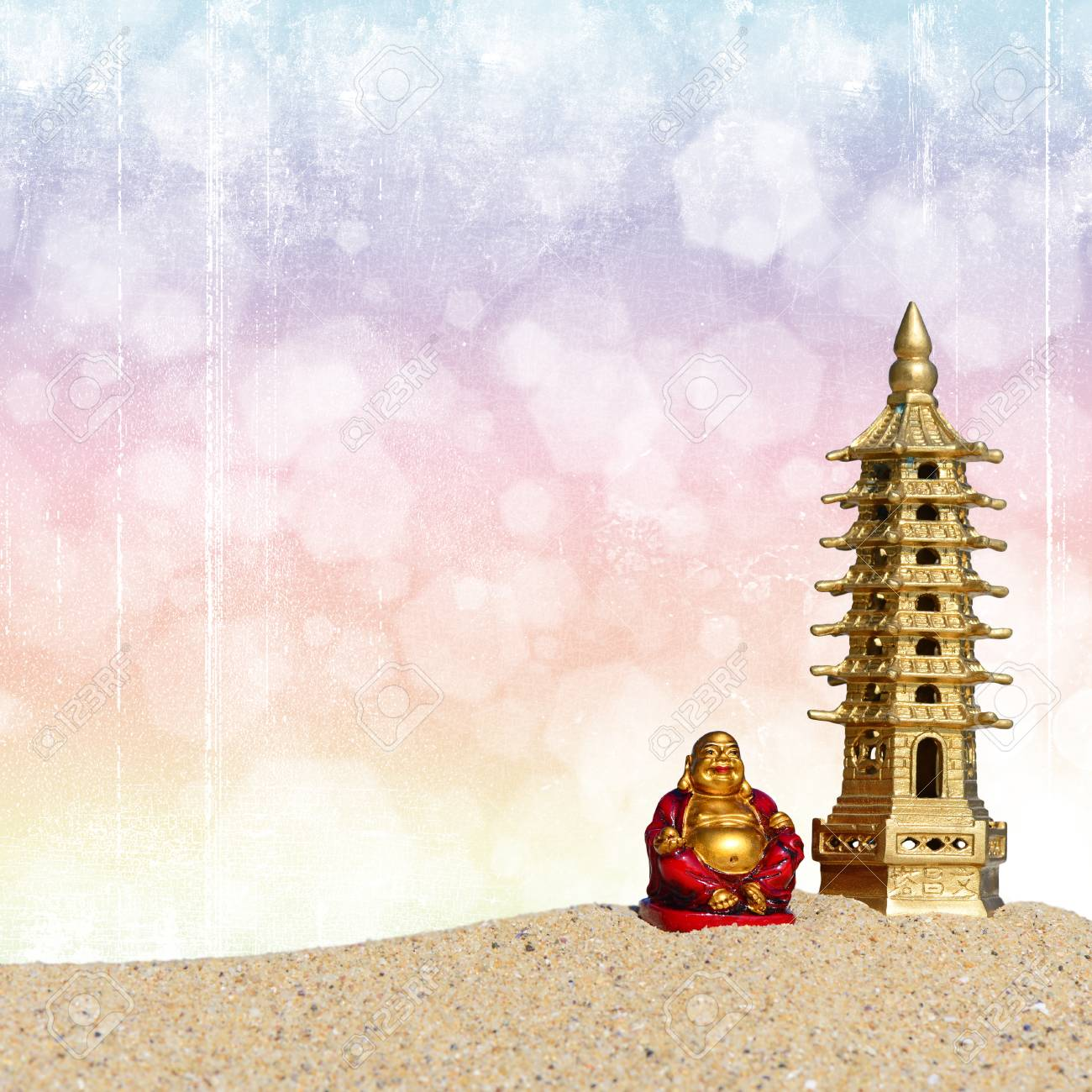 Laughing Buddha And Seven Storied Pagoda In The Sand Symbol Stock
