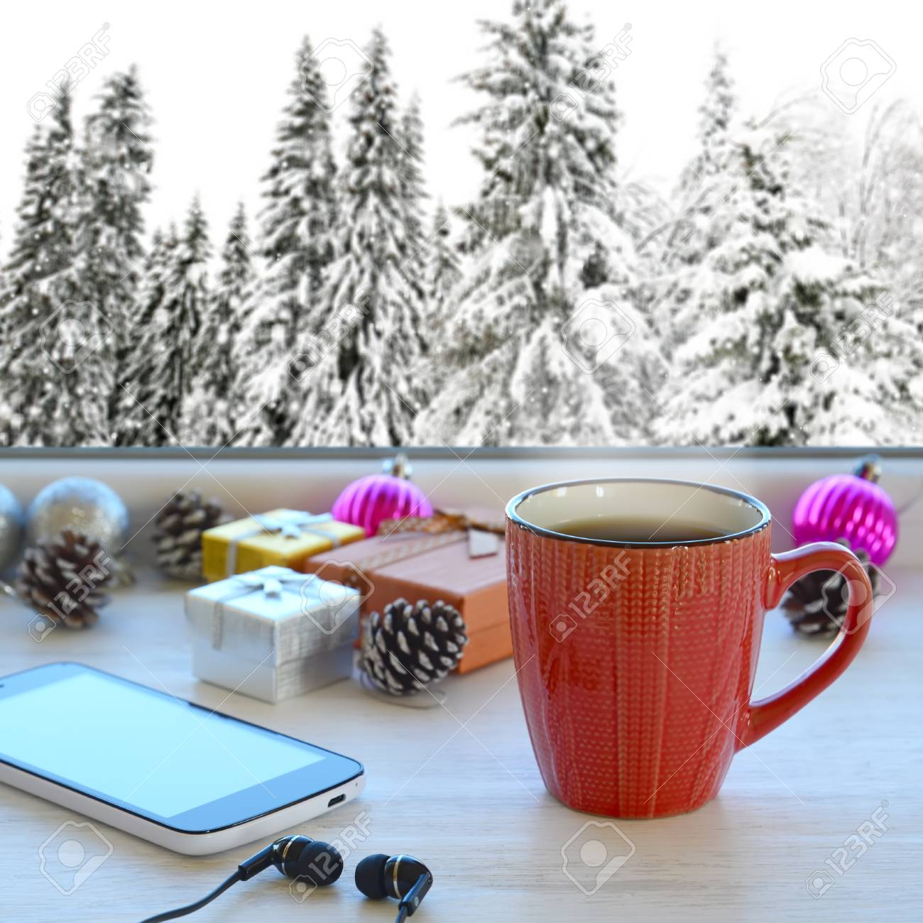 Coffee Christmas Tree Ornaments.Cup Of Coffee Smartphone Headphones Gifts And Christmas Tree