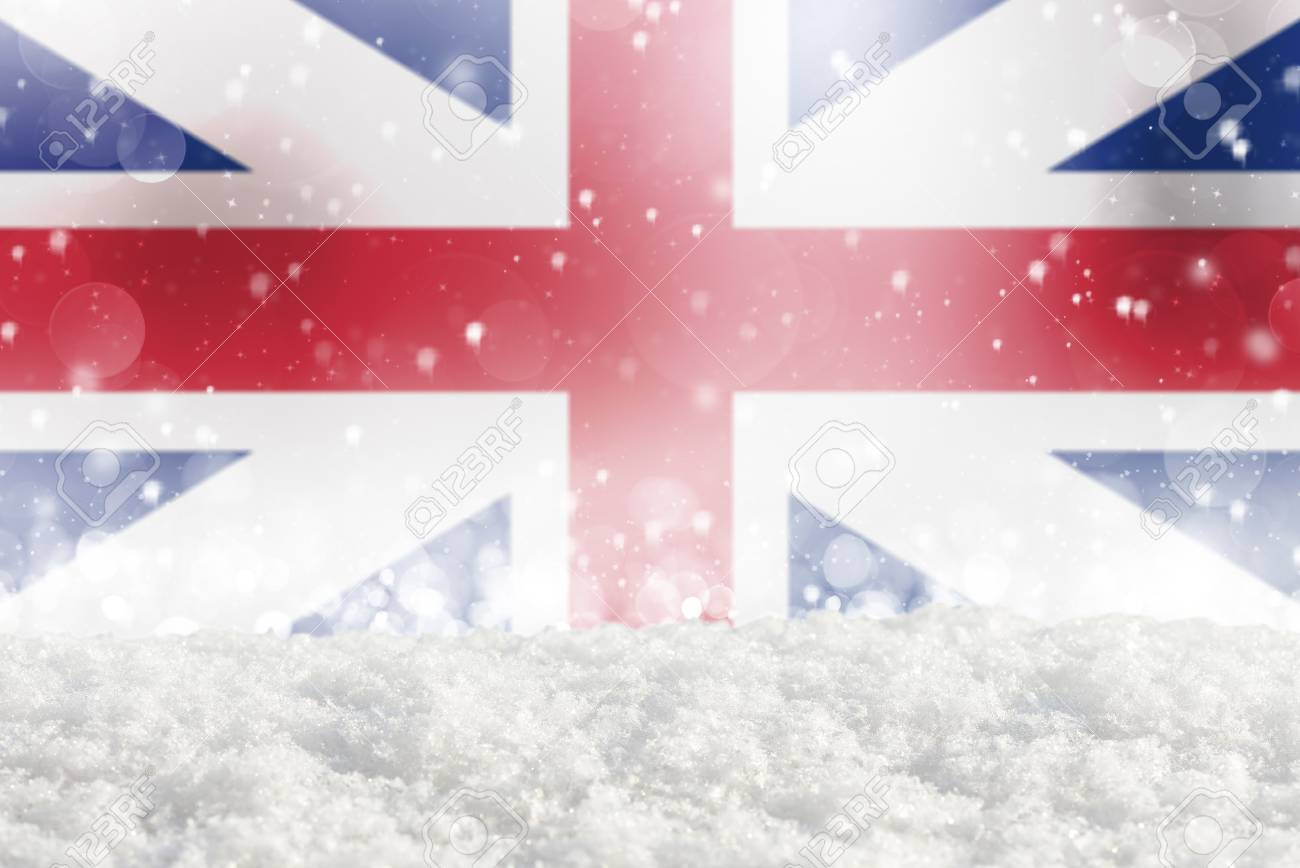 England Christmas Snow.Defocused England Flag As A Winter Christmas Background With