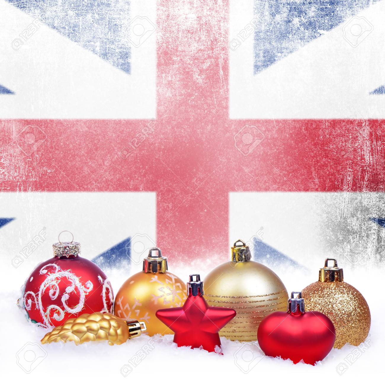 Christmas grunge background with festive decorations,balls, star,..