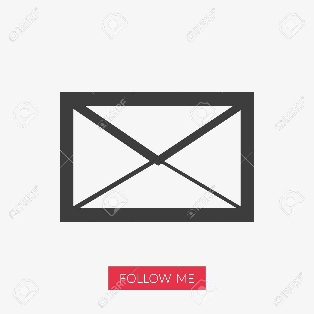 envelope vector email icon illustration with follow me text rh 123rf com vector icono mail Address Icon Vector
