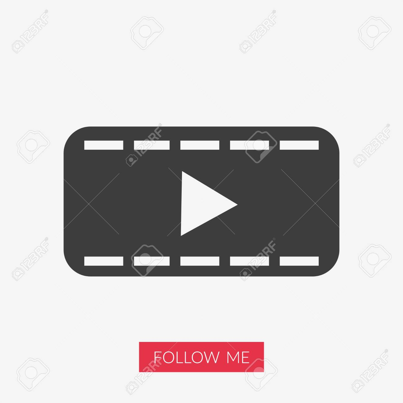 Movie Icon Play Symbol Illustration With Follow Me Text In Pink