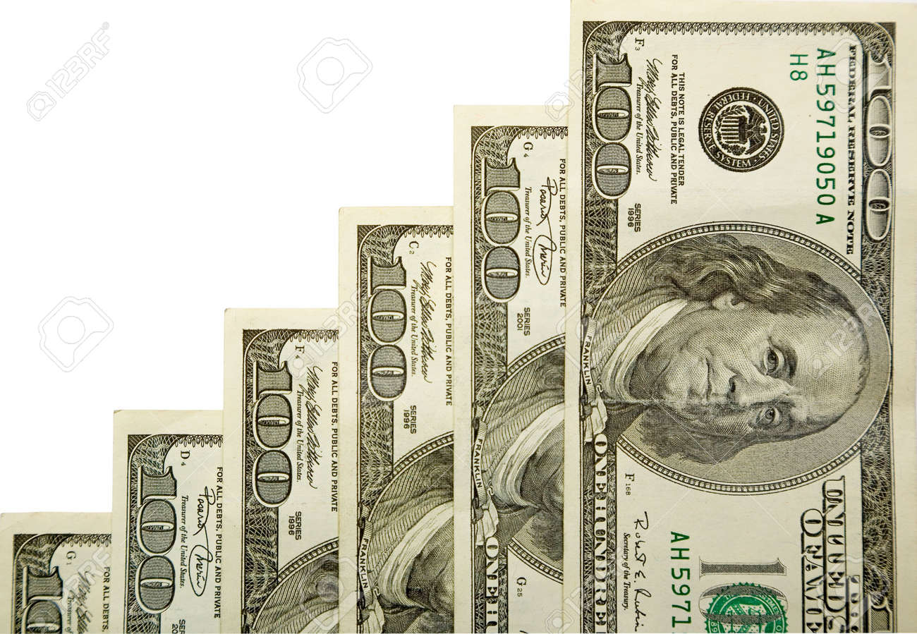 the stairs from dollars banknotes with clipping path Stock Photo - 634424