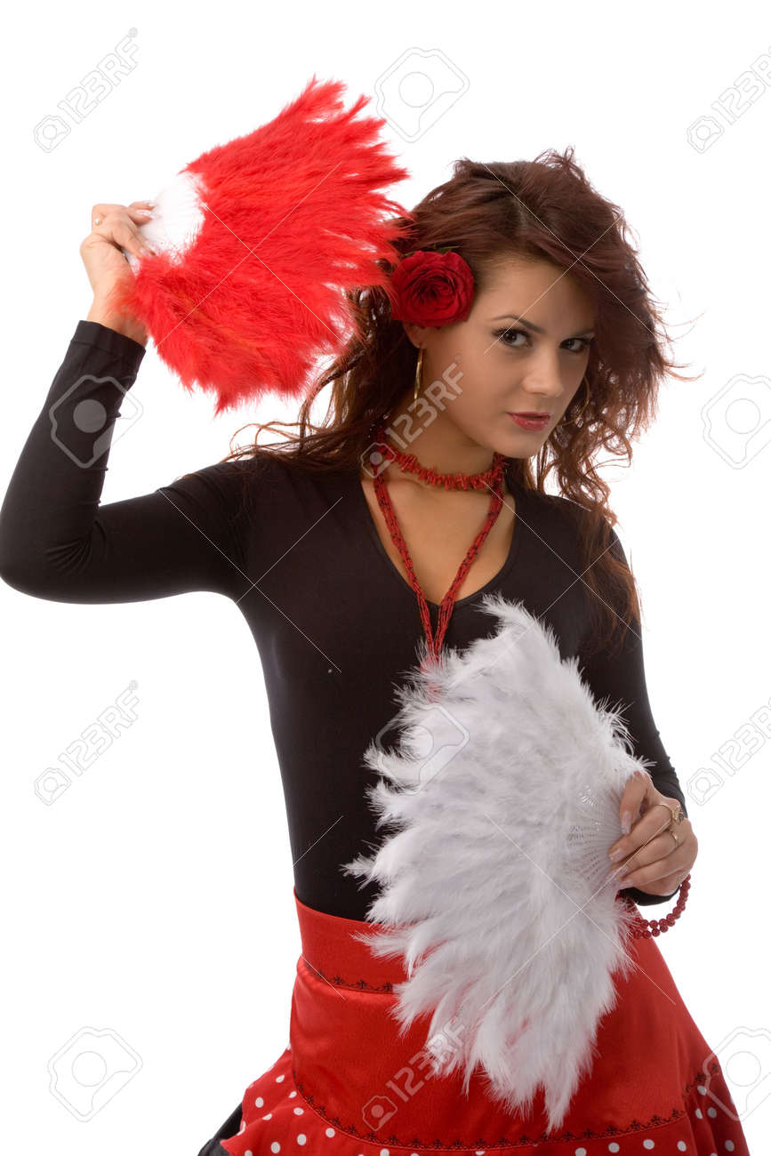 young woman dressed as romany on white background Stock Photo - 2211020