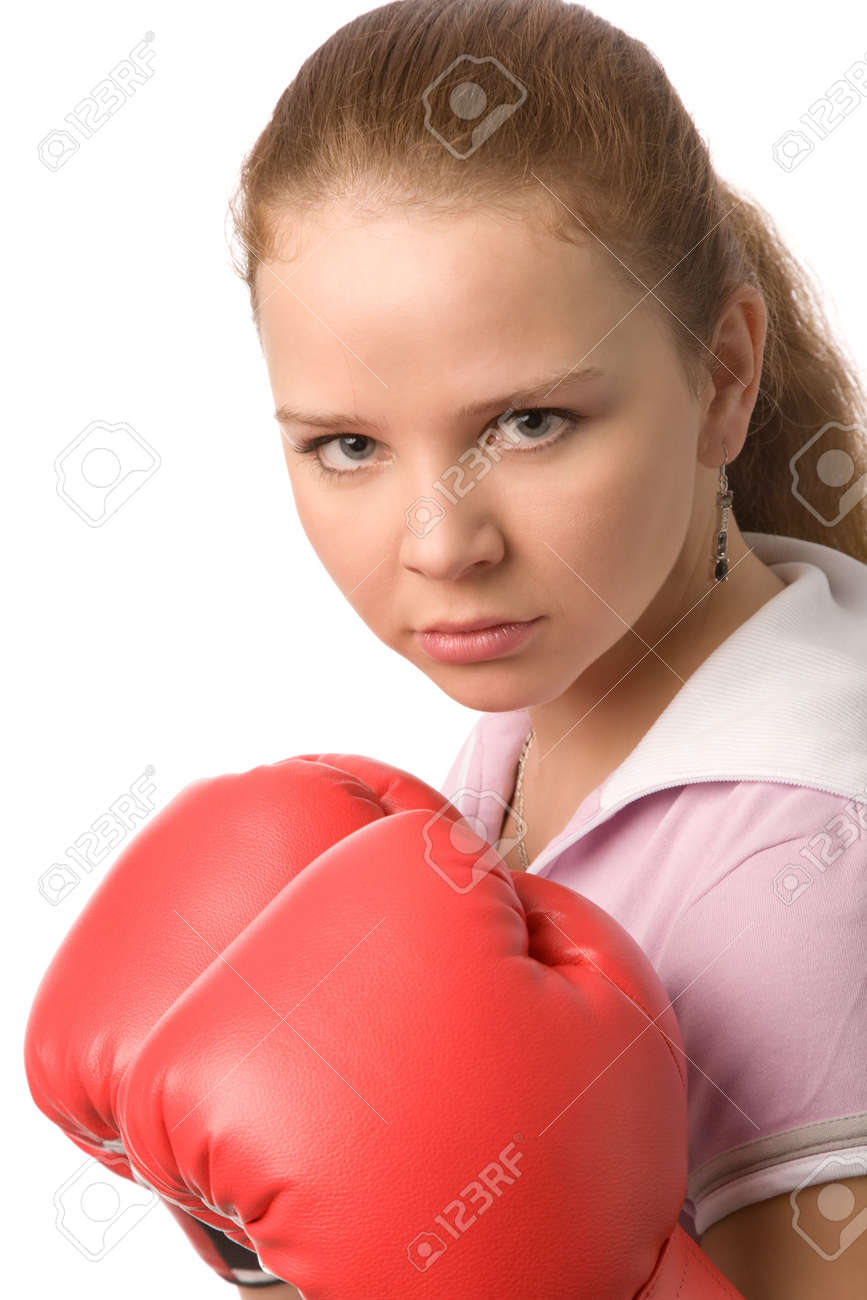 girl with red boxing gloves on a white background Stock Photo - 2590601