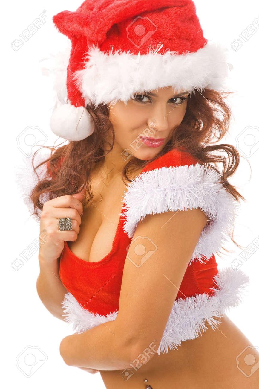 Babbo Natale Femmina Immagini.Sexy Donna Vestita Da Babbo Natale Isolate Sfondo Bianco