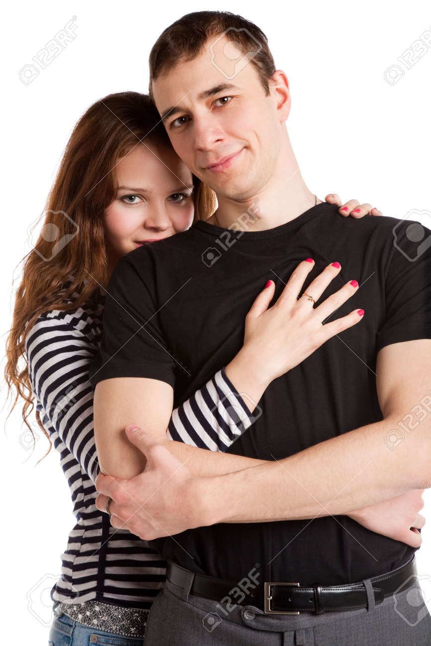 closeup portrait of the young loving couple isolated on white Stock Photo - 6388667