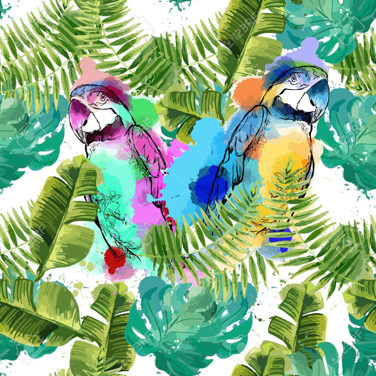 Exotic background with parrots and tropical leaves. - 133530472