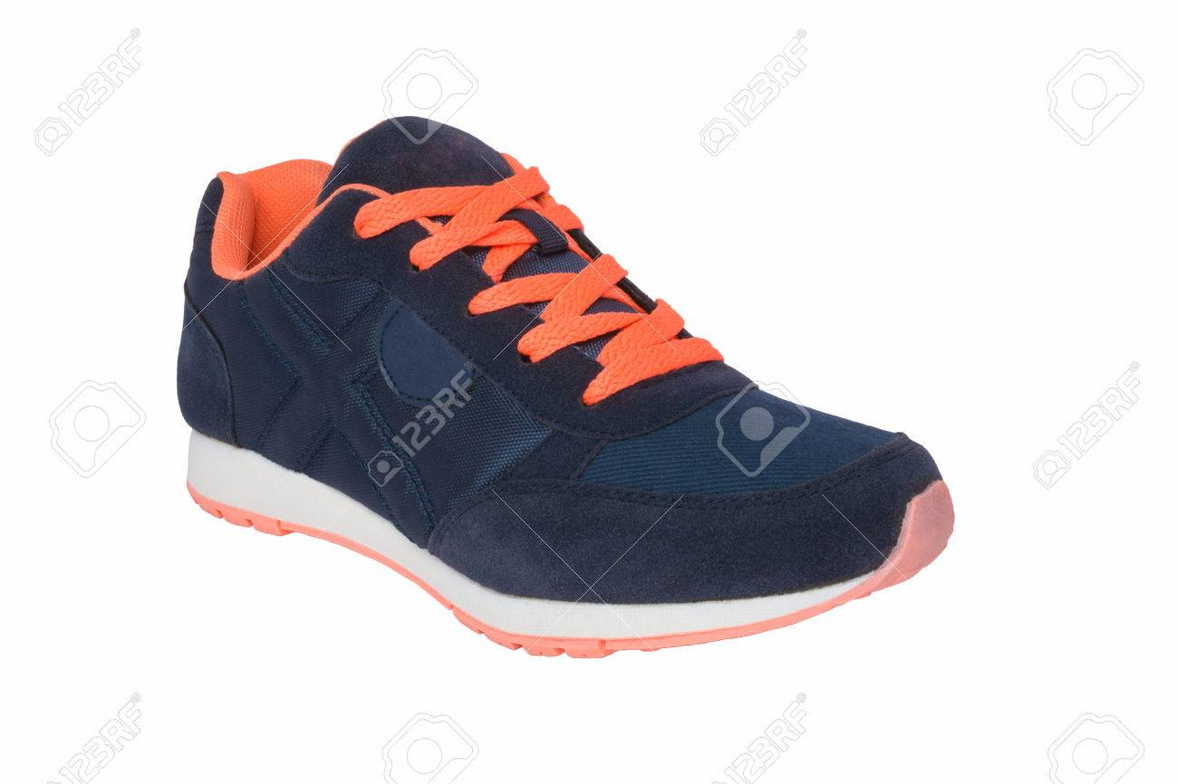 Women Dark Blue Sneakers With Orange