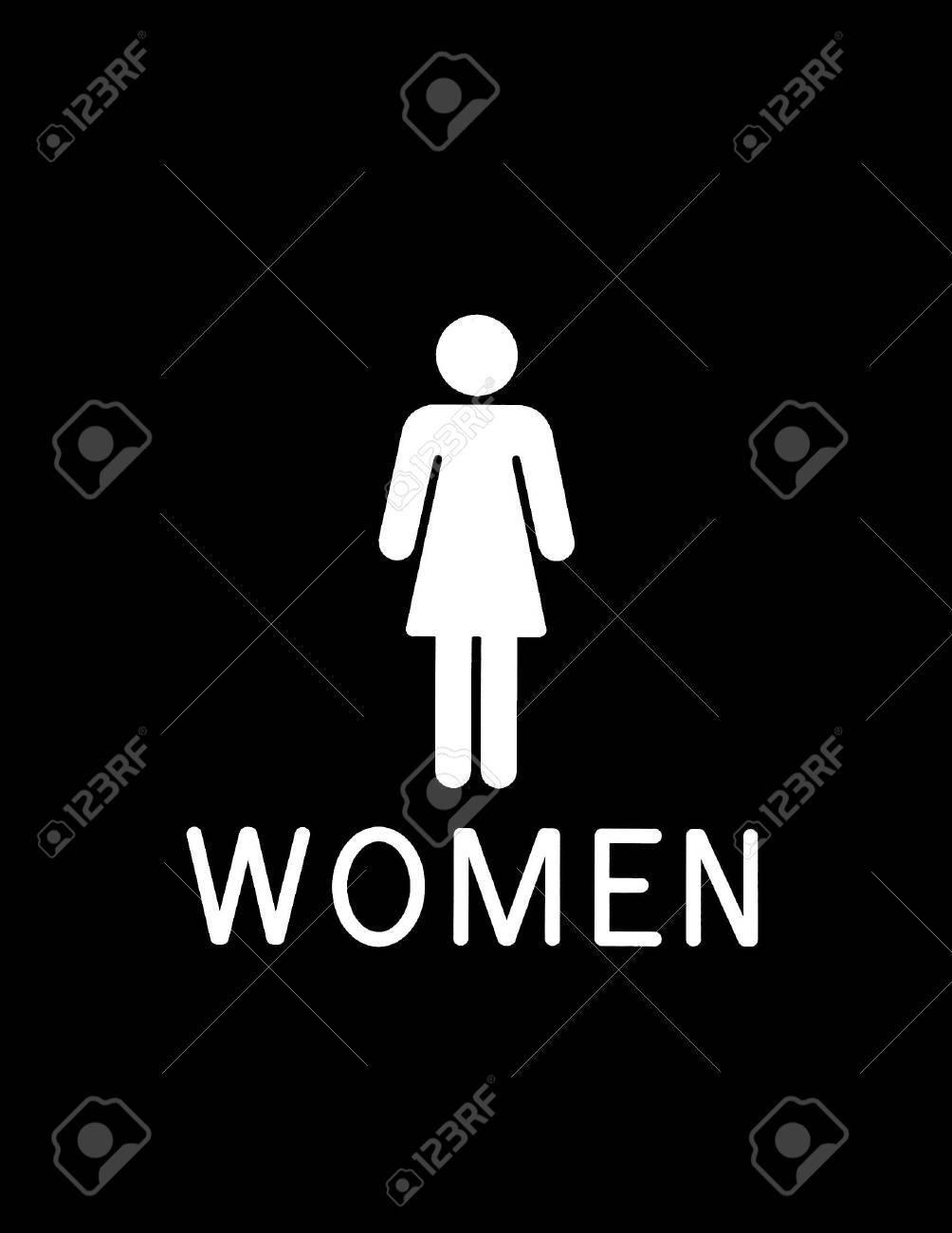 Schwarz Weiß Bad Zeichen Für Die Frauen Standard Bild   615047