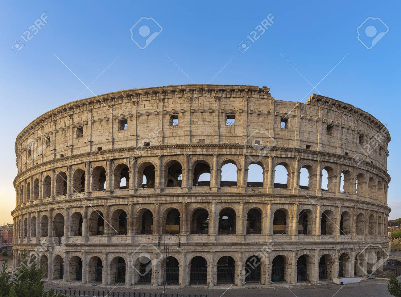 Colosseum At Sunrise In Rome Italy Europe Rome Ancient Arena