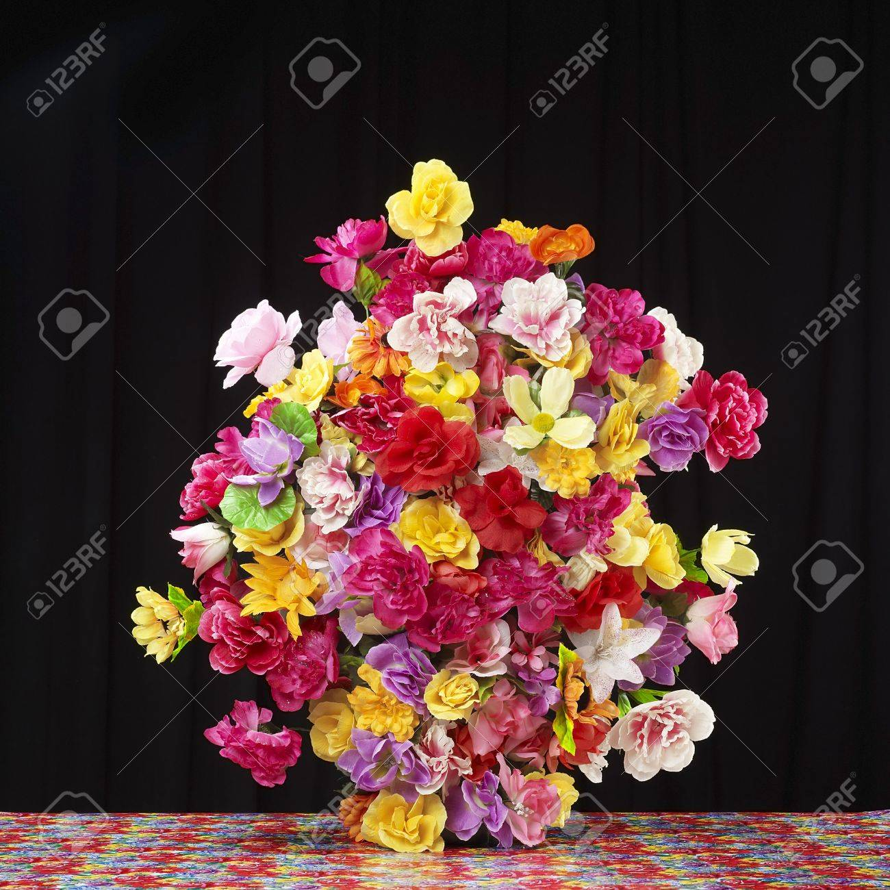 Big Flower Bouquet Against Black Background Stock Photo Picture And