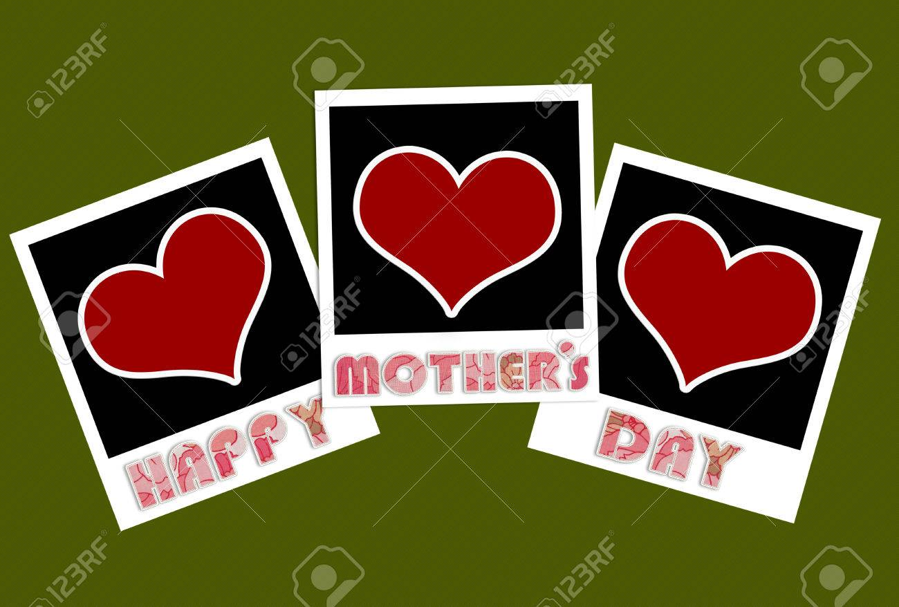 Happy Mothers Day Photo Frames With Heart Shape Stock Photo, Picture ...