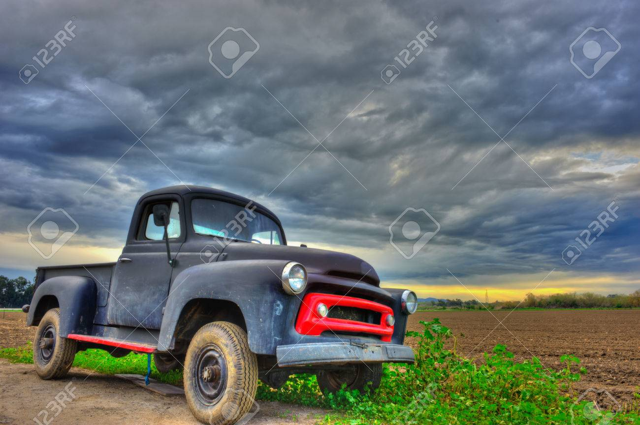 Old Chevy Truck Under The Cloudy Sky Stock Photo, Picture And ...