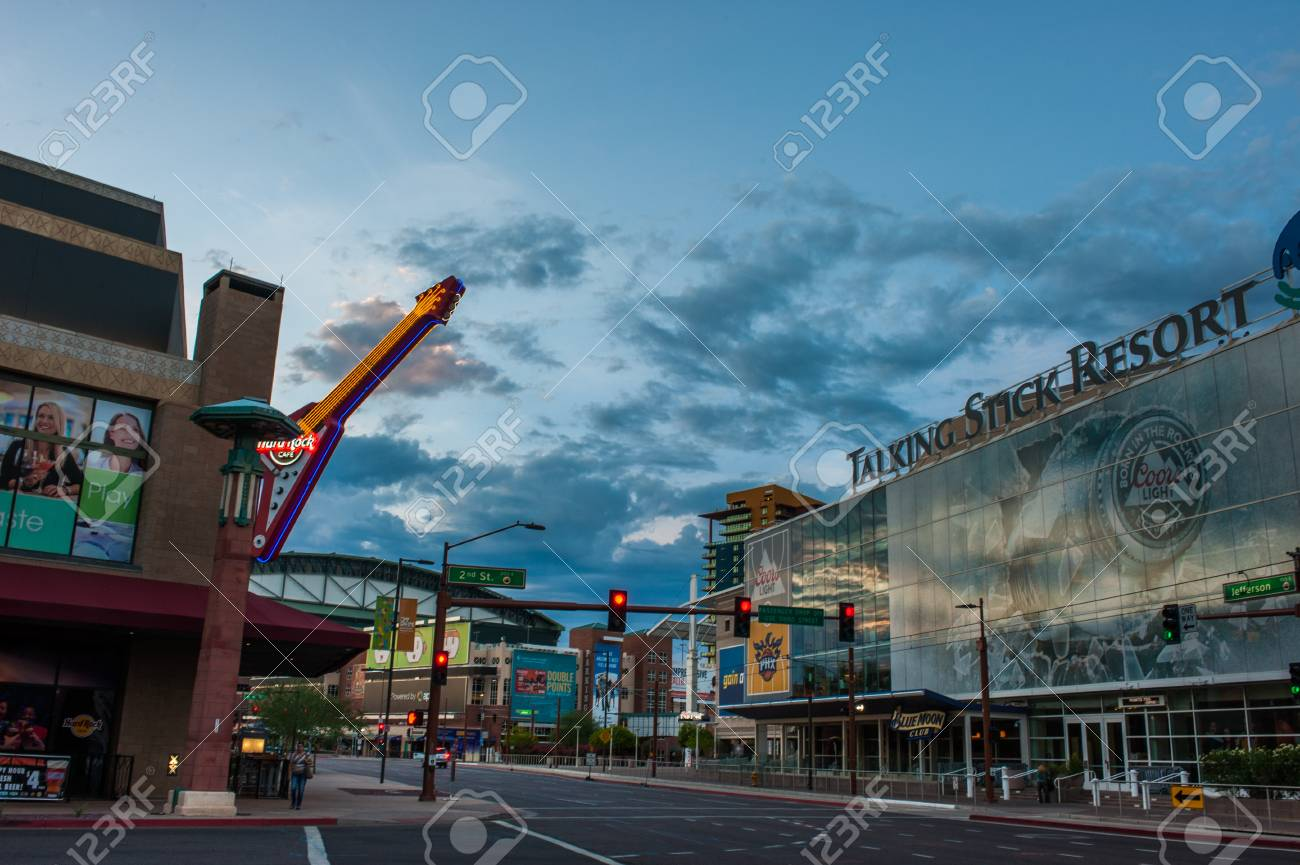 Downtown Phoenix Sports Restaurants And Bars District On Jefferson