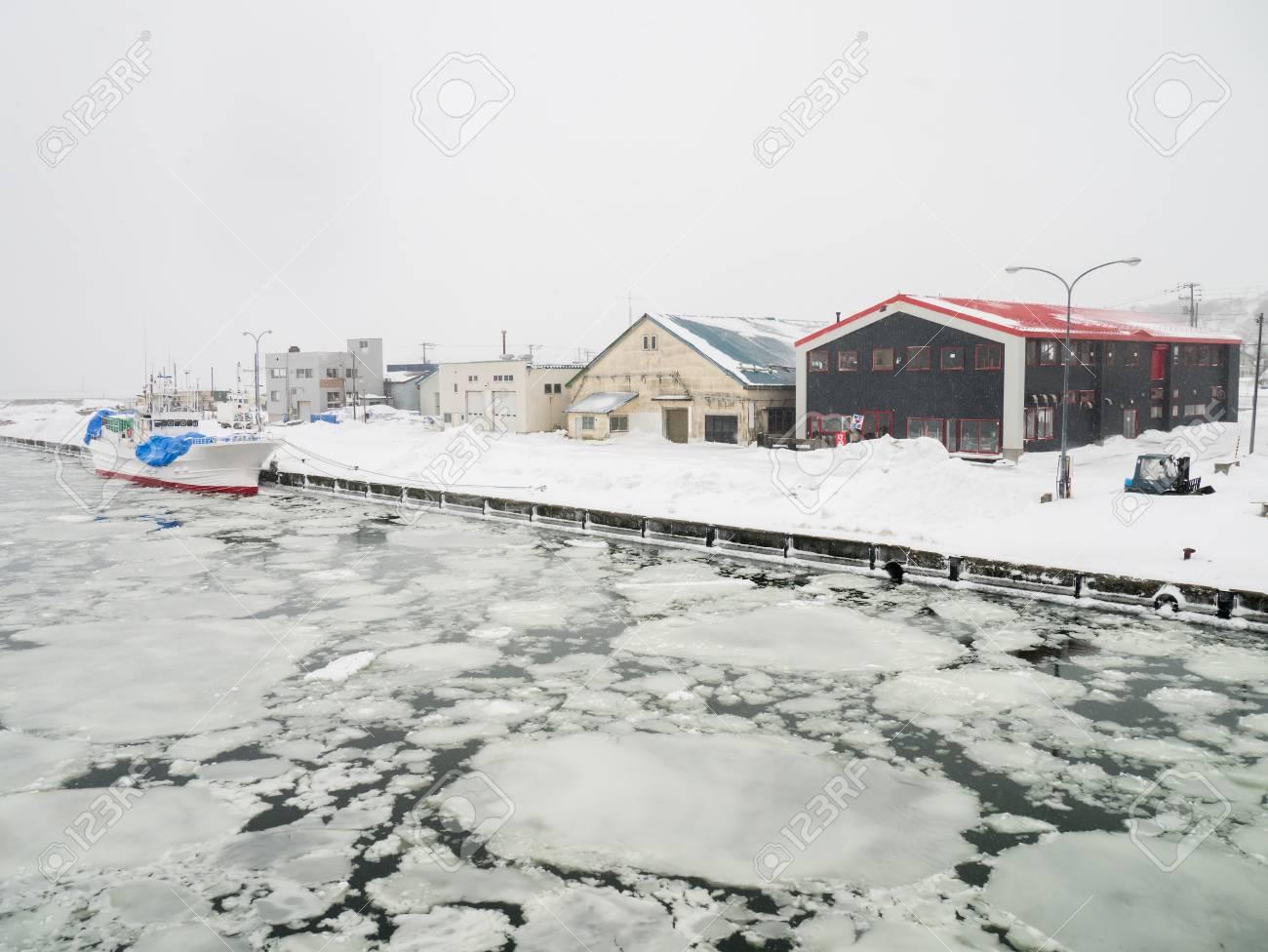Abashiri Port With Drift Ice In Abashiri Japan Stock Photo