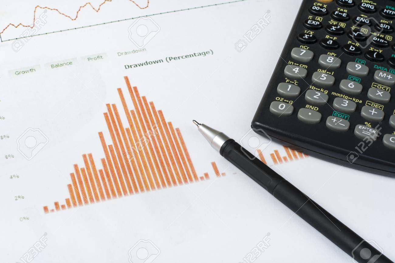 home savings budget concept chart pen and calculator on wooden