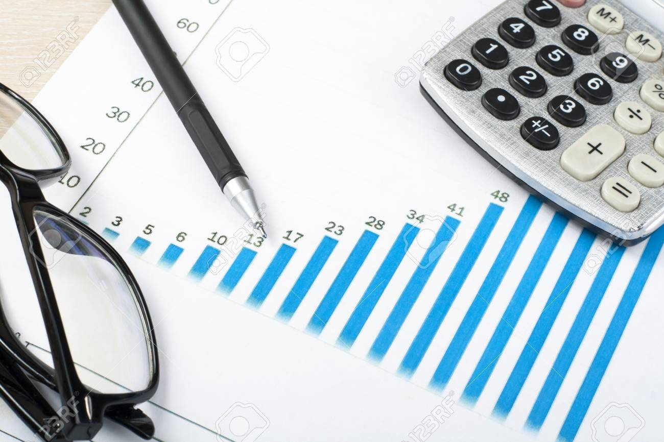 home savings budget concept chart pen calculator and glasses