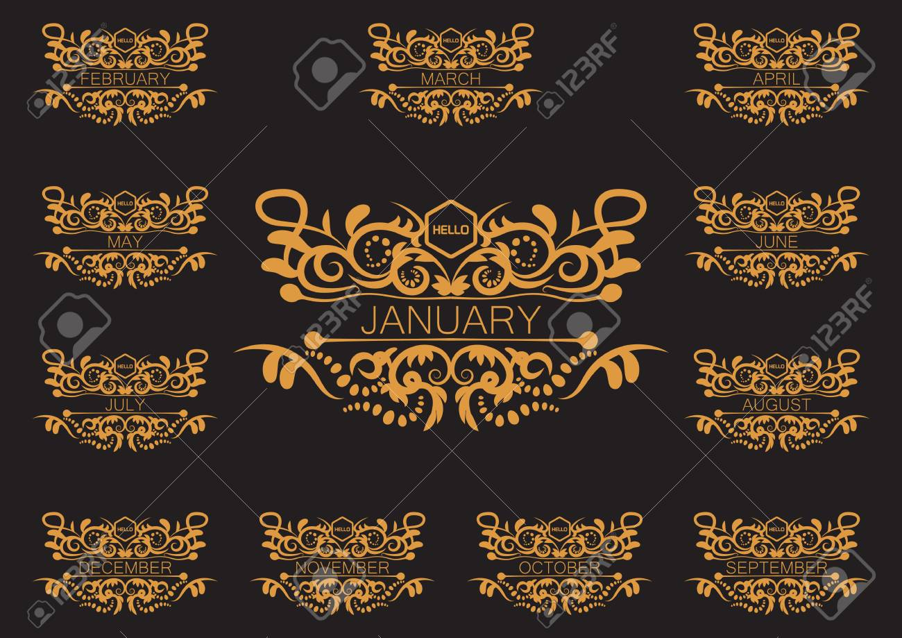 Set of hello new month greeting card design template royalty free set of hello new month greeting card design template stock vector 92952964 m4hsunfo