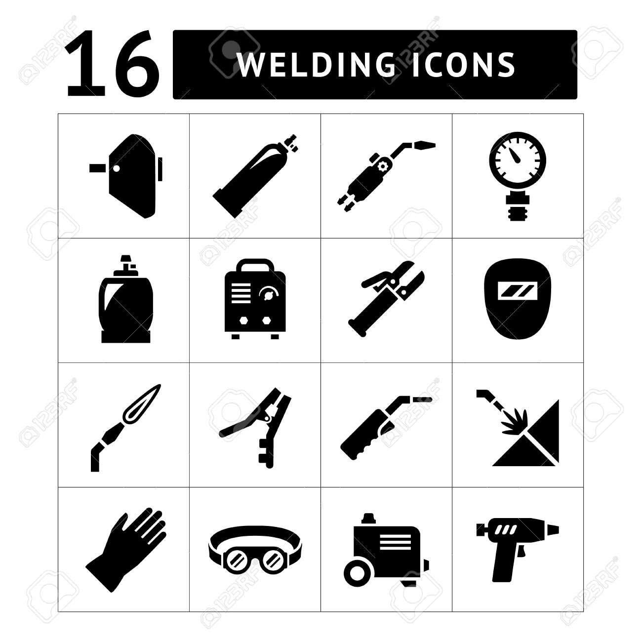 Set icons of welding isolated on white - 29413999