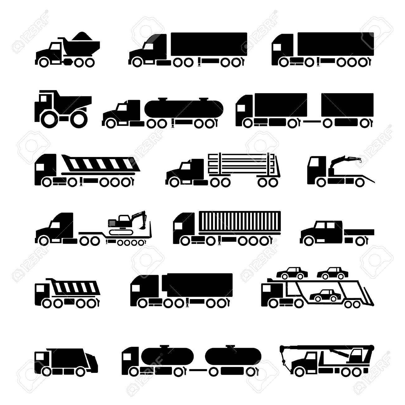 Trucks, trailers and vehicles icons set isolated on white - 29414020