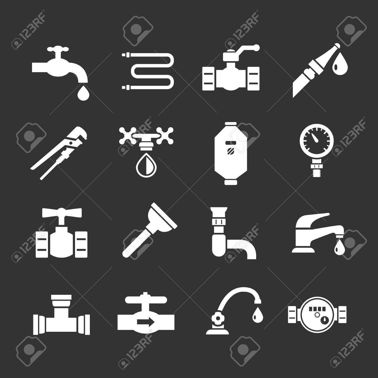Set icons of plumbing isolated on black - 29822859
