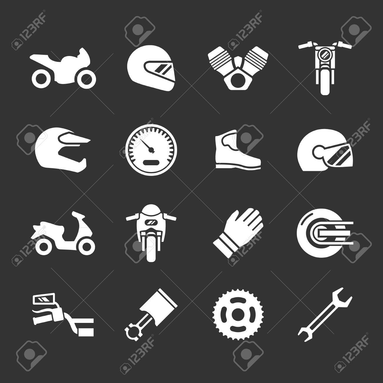 Set icons of motorcycle isolated on black - 30145602