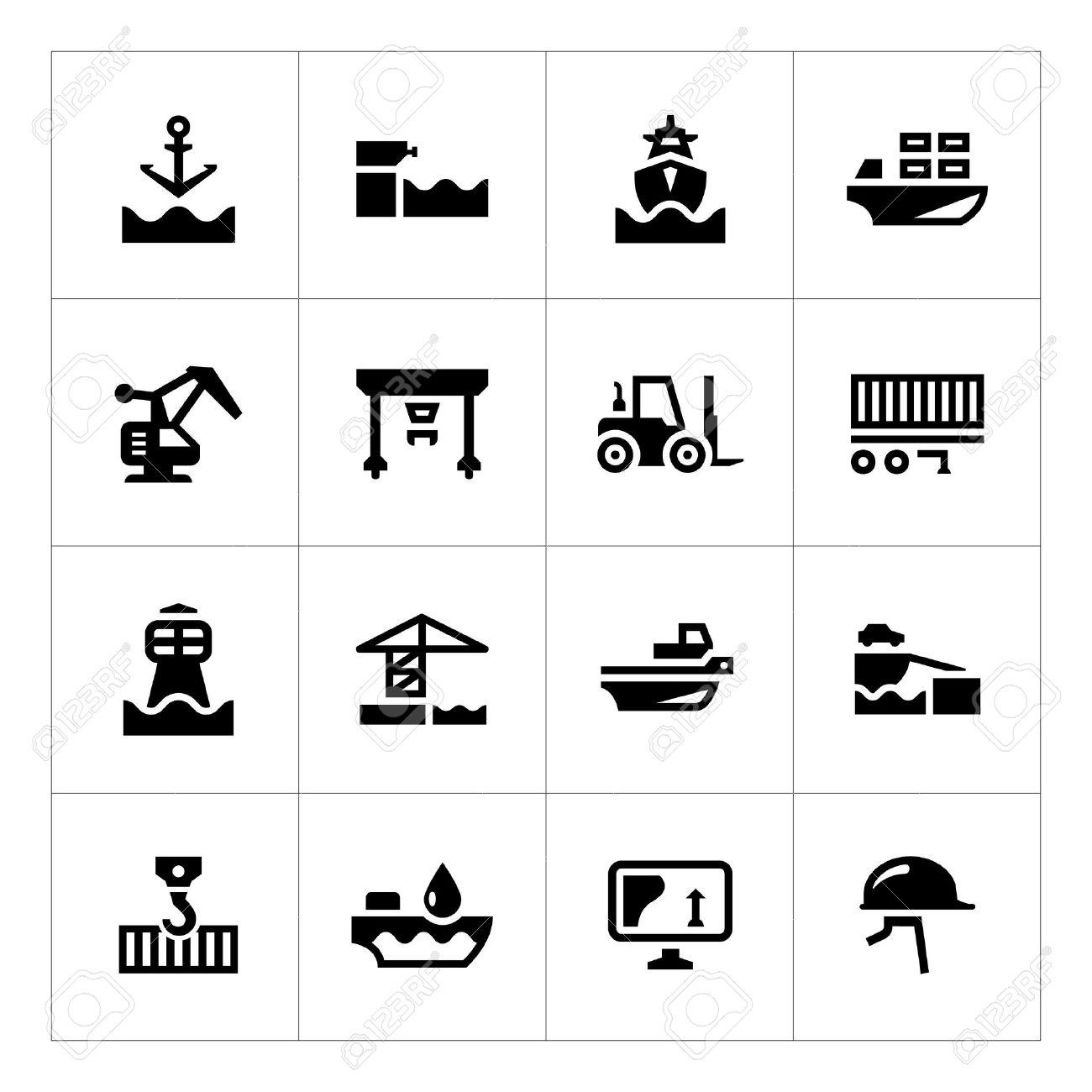 Set icons of seaport isolated on white - 32555771