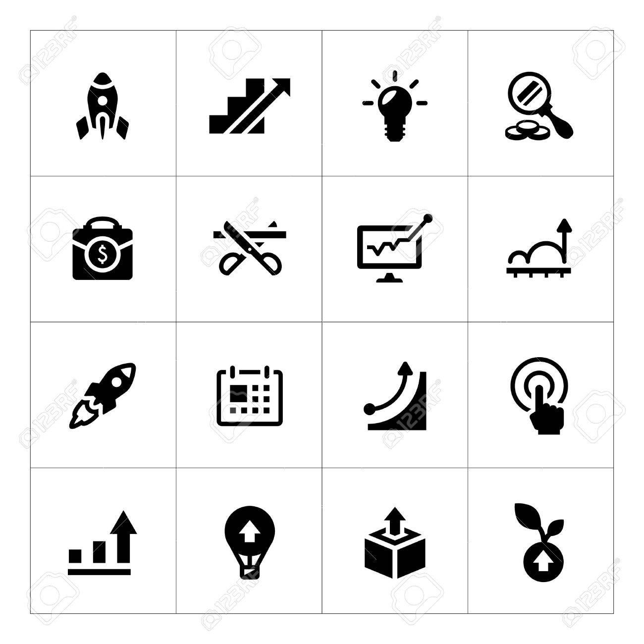 Set icons of start-up isolated on white - 32575764