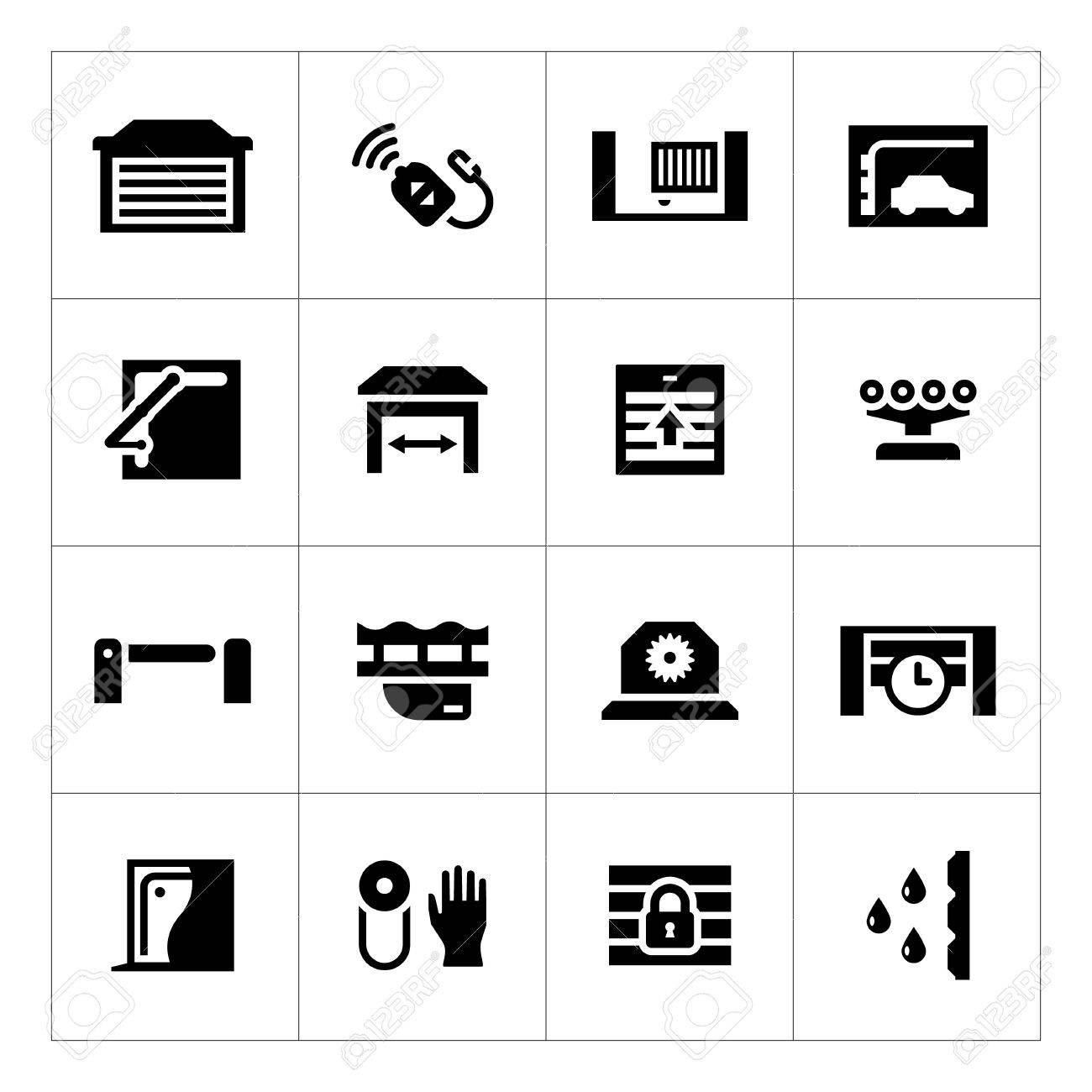Set icons of automatic gates isolated on white - 34489259