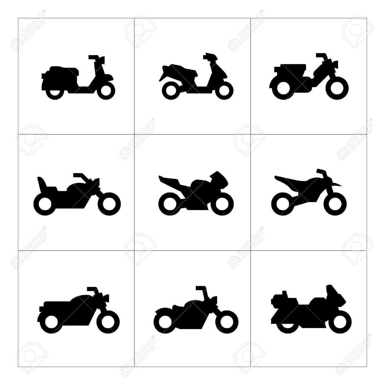 Set icons of motorcycles isolated on white - 35938032
