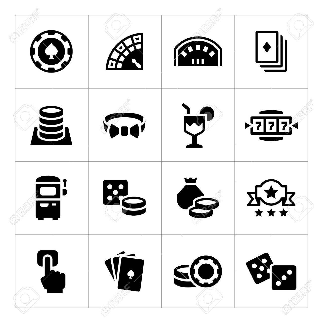 Set icons of casino isolated on white - 39022999