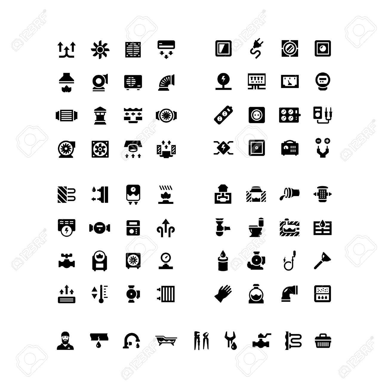 House system icons. Set icons of ventilation, electricity, heating, sewerage, plumbing isolated on white - 40887521