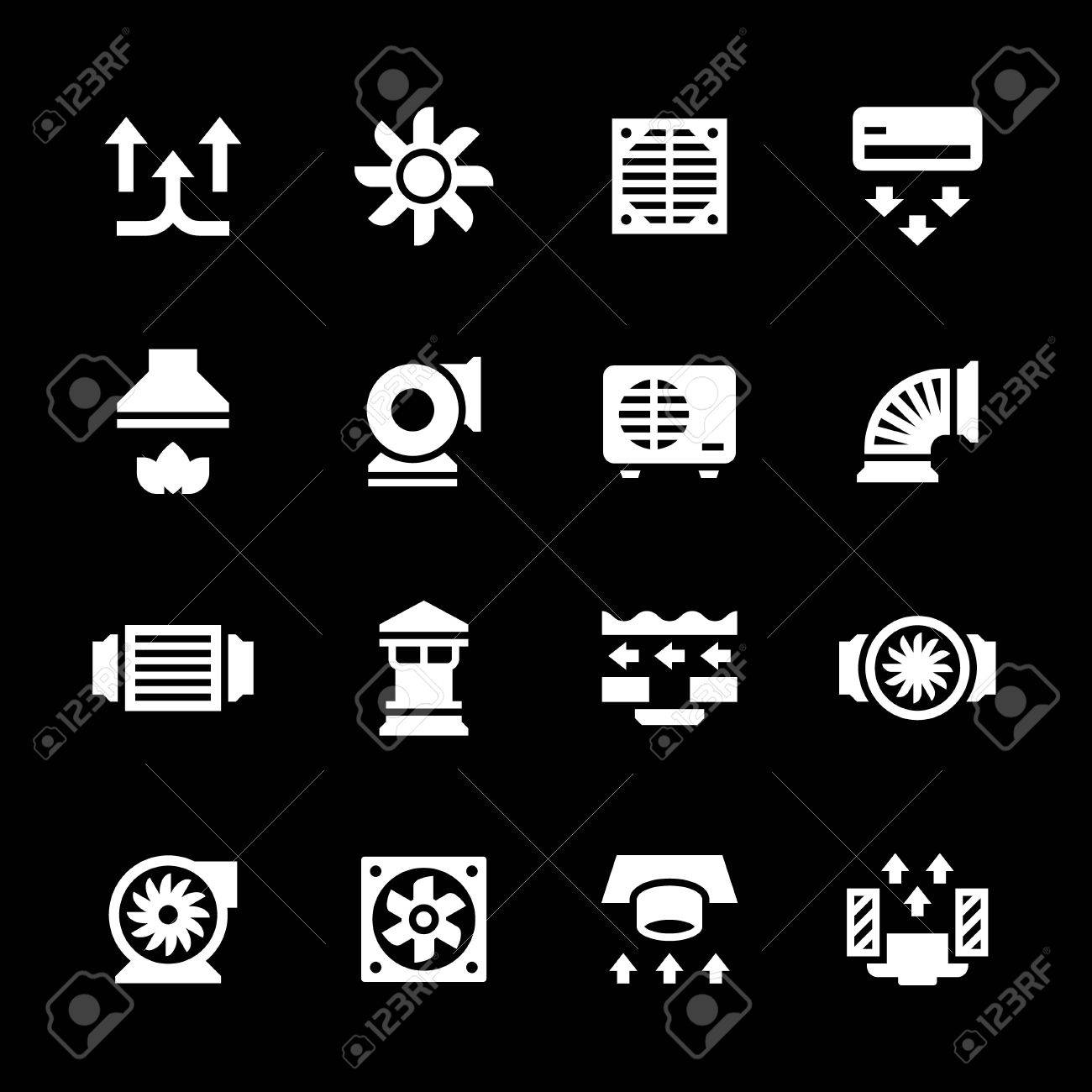 Set icons of ventilation and conditioning isolated on black - 44638485