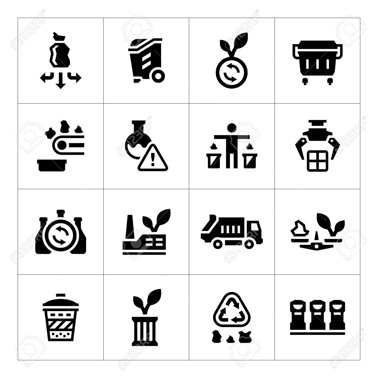 Set icons of recycling isolated on white - 46525687