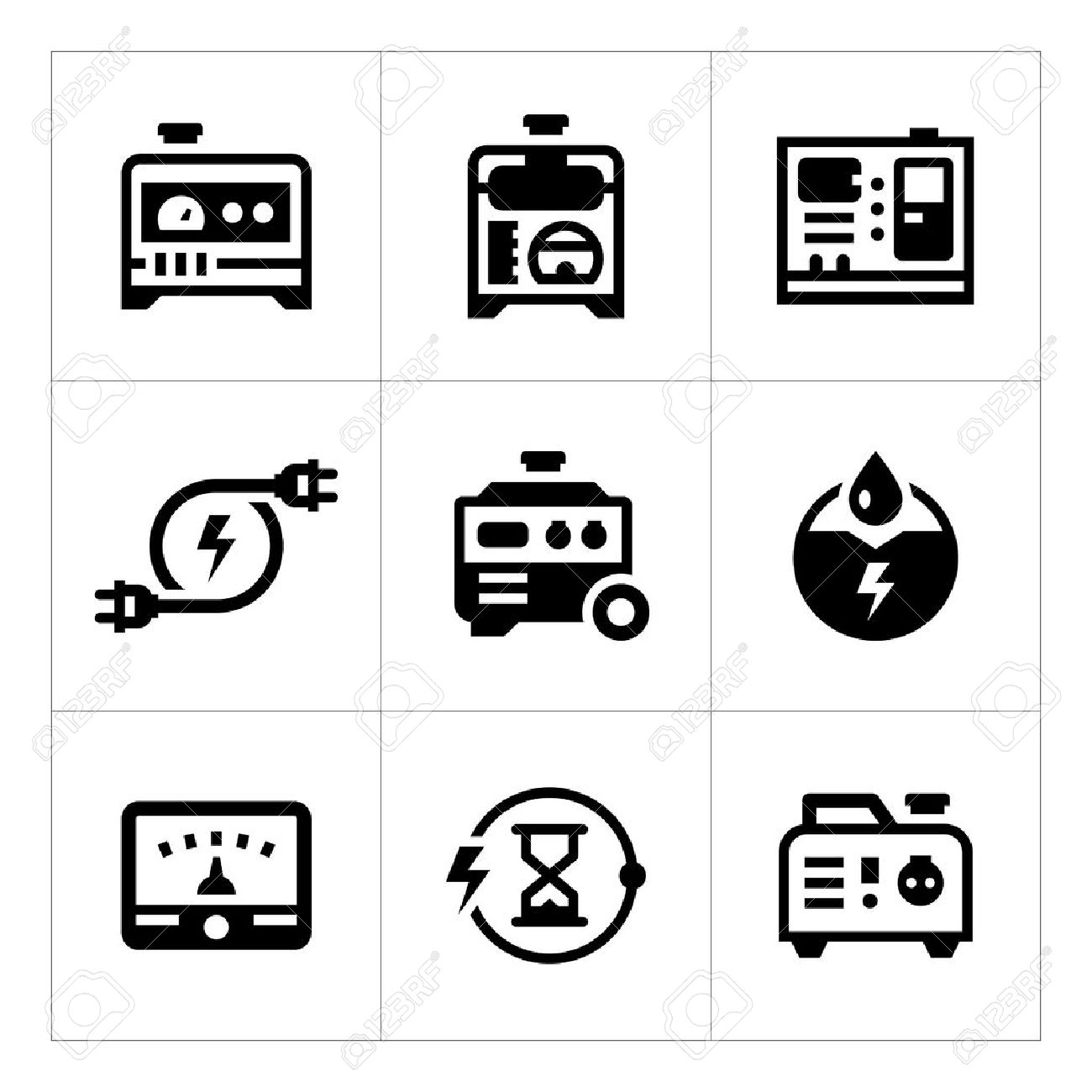 Set Icons Of Electrical Generator Isolated On White. Vector ...