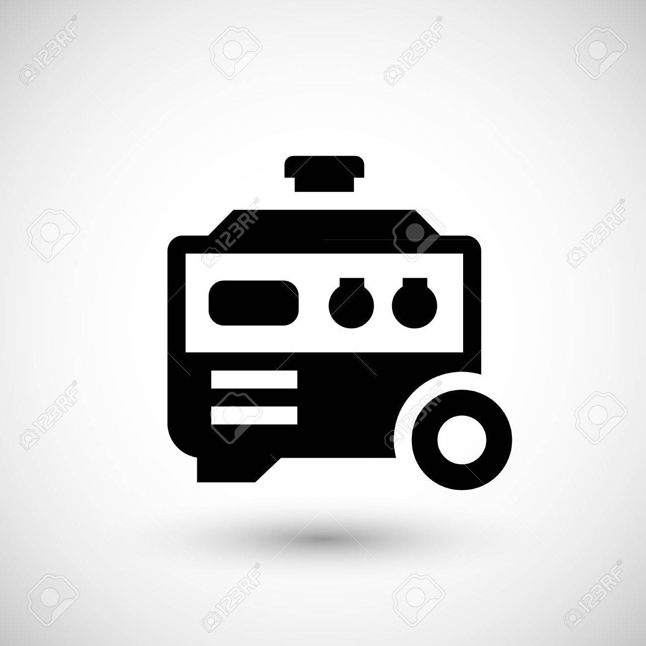 Electric Generator Icon Isolated On Grey. Vector Illustration ...