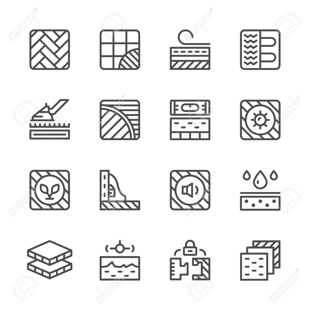 Set line icons of floor isolated on white. Vector illustration - 55463925