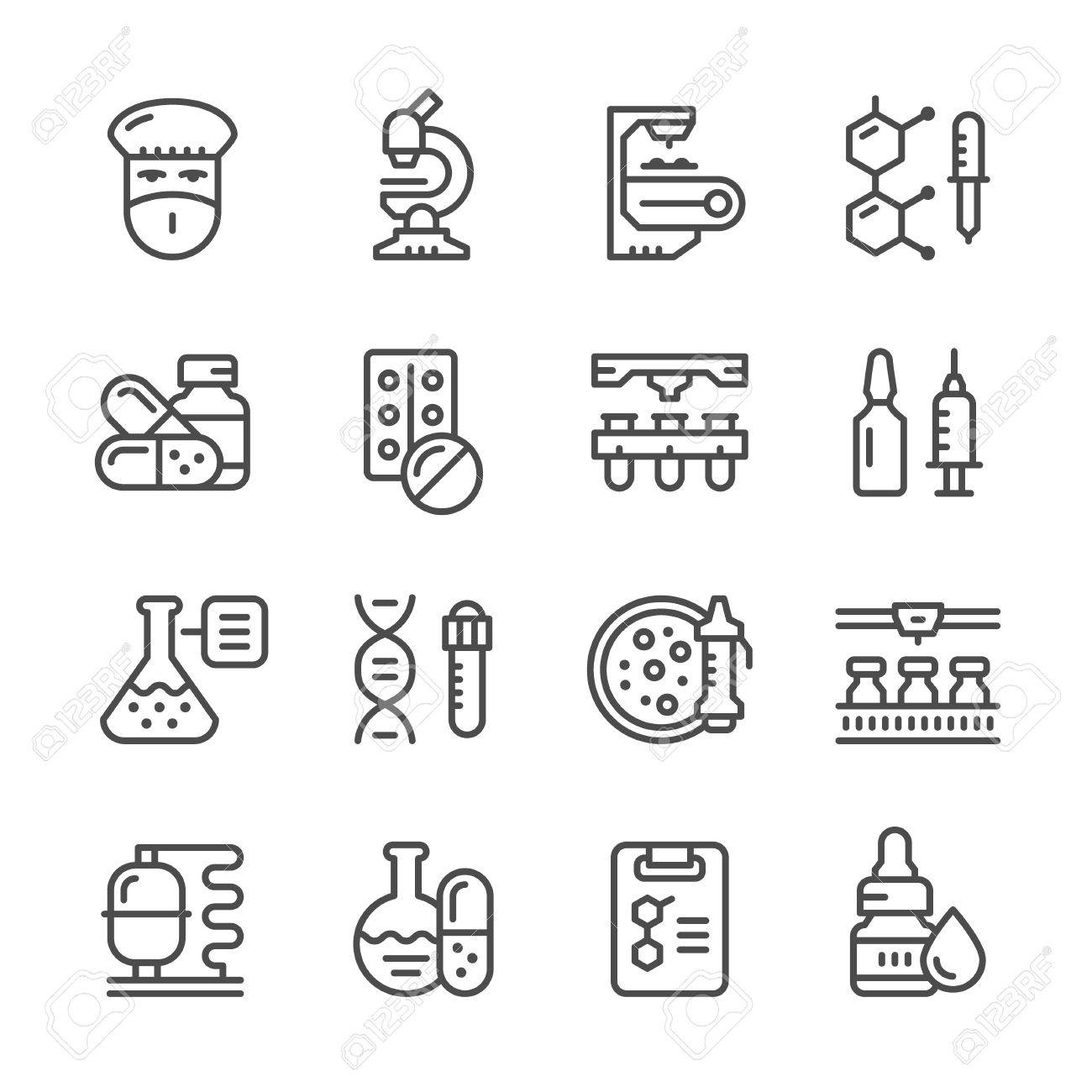 Set line icons of pharmaceutical industry isolated on white. - 56952161