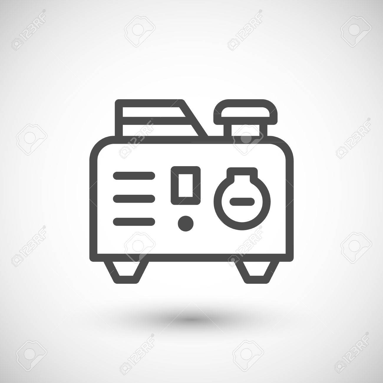 Portable Electric Generator Line Icon Isolated On Grey. Vector ...