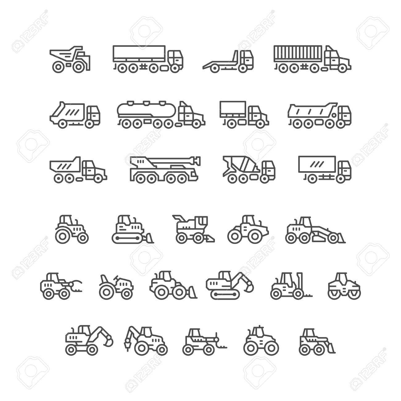 Set line icons of trucks and tractors isolated on white. Vector illustration - 61050273