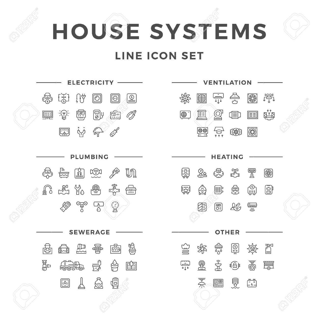 Set line icons of house systems isolated on white. Vector illustration - 62194172