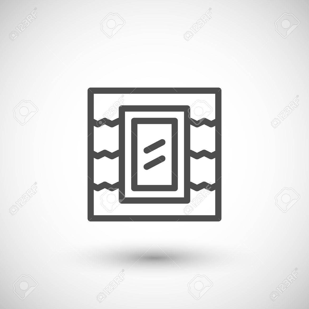 Icône De Ligne De Fenêtre De Toit Isolée Sur Fond Gris Illustration
