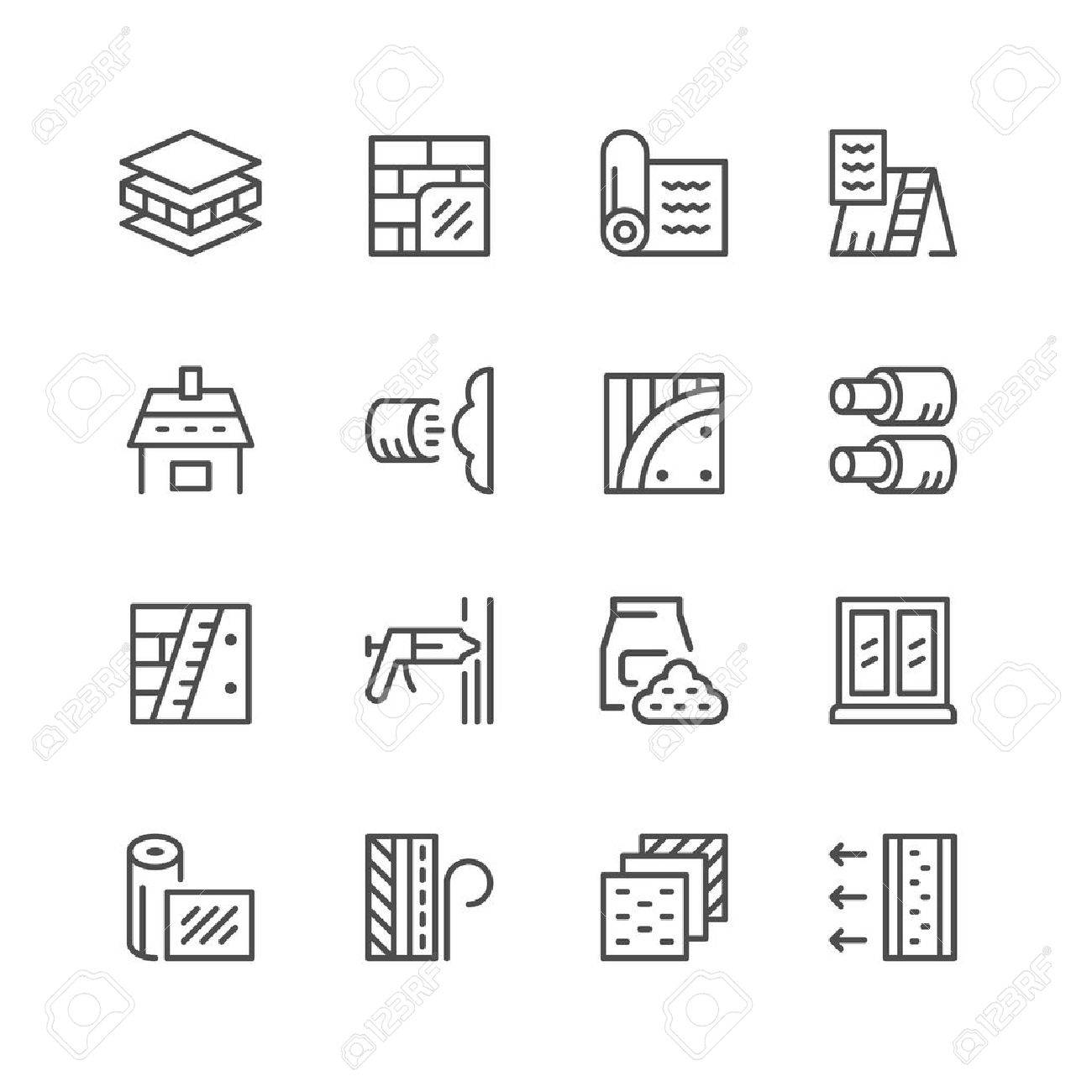 Set line icons of insulation isolated on white. Vector illustration - 69141321